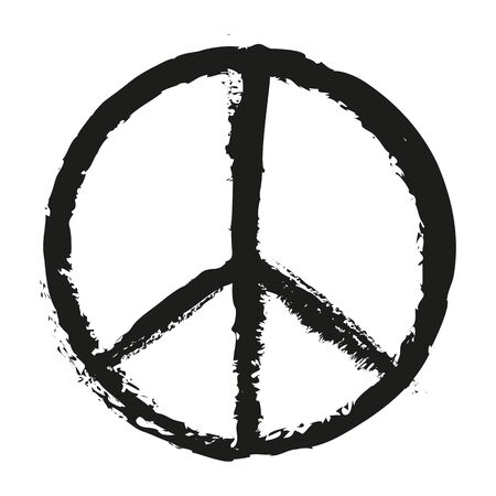 An illustration of a black peace sign painting