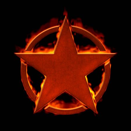 An illustration of a burning red star in a circle
