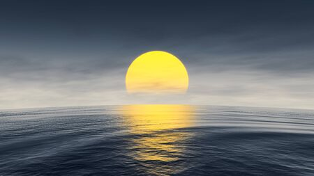A great sunset over the ocean with curved horizon 3d illustration