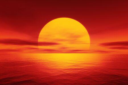 big red sunset over the ocean 3d illustration