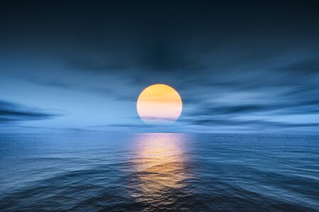 A great sunset over the ocean 3d illustration