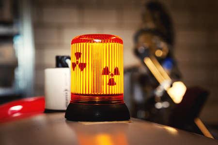An image of a radioactive warning sign lamp