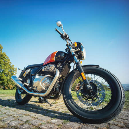 An image of a classic motorcycle outdoors Archivio Fotografico