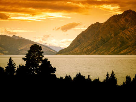 An image of an impression of Lake Hawea in New Zealand