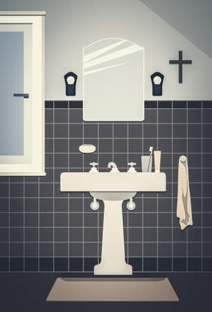 An illustration of a typical vintage bathroom