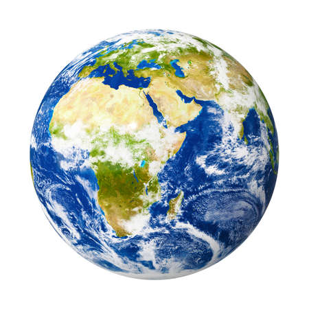 An image of our planet Earth isolated on white with clipping mask.