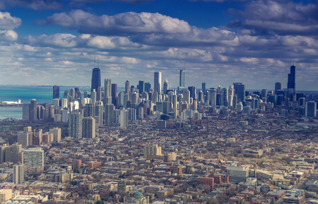 Aerial view of Chicago skyline Stok Fotoğraf