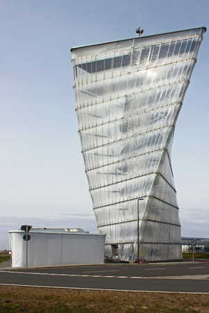 contorted: former information tower at the airport, Berlin