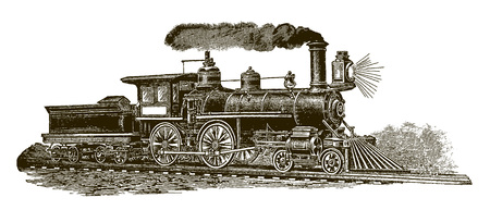 Historic steam locomotive (after an engraving from the 19th century) Иллюстрация