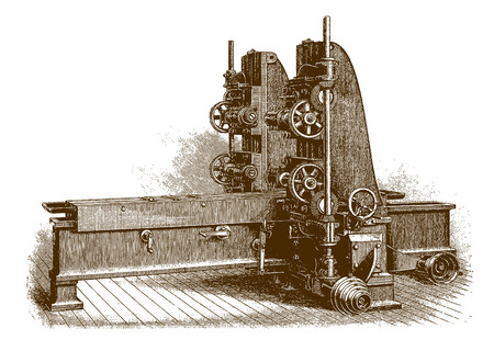 Historic four-spindle milling machine (after an engraving from the 19th century) Çizim