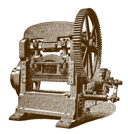 Historic pressing and punching machine (after an engraving from the 19th century) Çizim