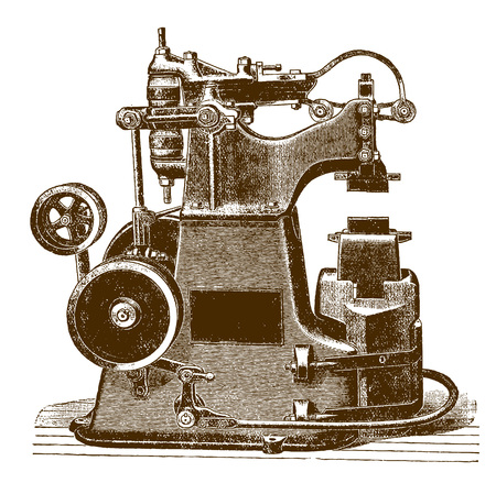 Historic hammering machine (after an engraving from the 19th century) Иллюстрация