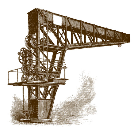 Historic swing jib crane (after an engraving from the 19th century) Фото со стока - 126413427