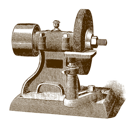 Historic grinding machineÊ(after an engraving or etching from the 19th century)