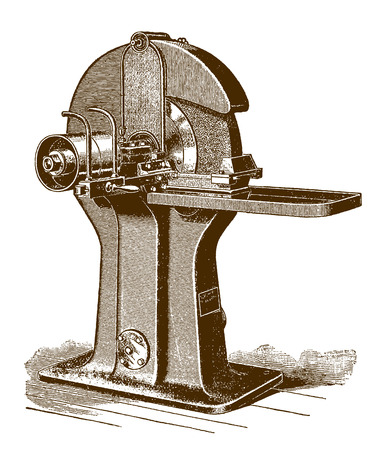 Historic water tool grinder machineÊ(after an engraving or etching from the 19th century) Illustration