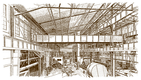 Interior of a historic forge shop or factory building (after an engraving or etching from the 19th century)