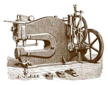 Historic boiler punching machine�(after an engraving or etching from the 19th century)