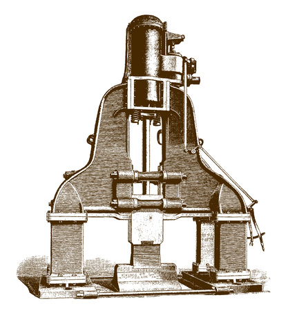 Historic steam hammer machine�(after an engraving or etching from the 19th century)