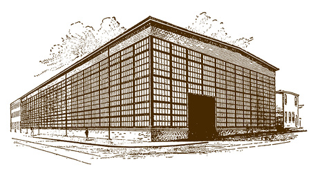 Exterior of a historic machine shop, factory building, warehouse or manufacturing plant (after an engraving or etching from the 19th century) Ilustração