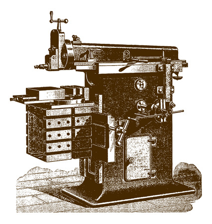 Historic pillar shaper machine�(after an engraving or etching from the 19th century)