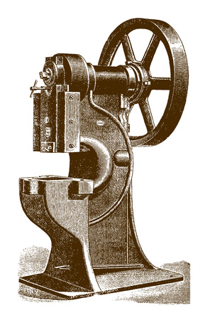 Historic pressing, blanking, stamping and punching machineÊ(after an engraving or etching from the 19th century) Vettoriali