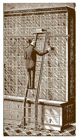 Inside a historic store a salesman standing on a floor track bike ladder and pulling out a box from a huge shelf�(after an etching or engraving from the 19th century)
