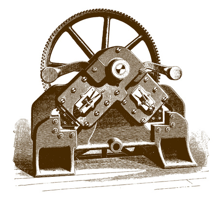 Historic angle iron shearing machine�(after an etching or engraving from the 19th century)