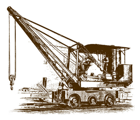 Two workers standing on a historic locomotive crane�(after an etching or engraving from the 19th century)