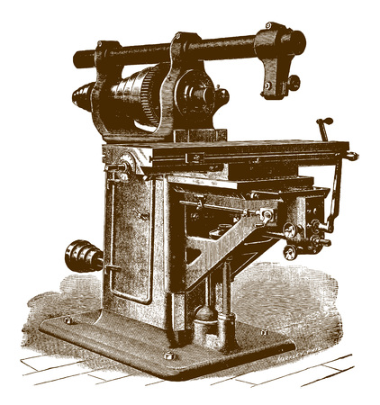 Historic milling machine�(after an etching or engraving from the 19th century)