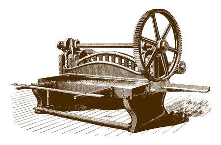 Historic overhanging power shearing shears machine (after an engraving or etching from the 19th century) Çizim