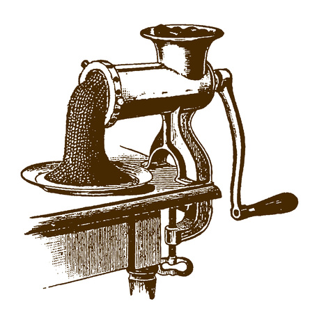 Historic hand-powered meat grinder or chopper with minced meat coming out of the machine (after an engraving or etching from the 19th century)