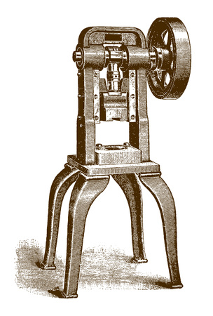 Historic pillar press machine�(after an engraving or etching from the 19th century) Ilustração