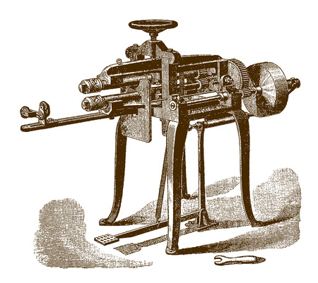 Historic beading machineÊ(after an engraving or etching from the 19th century)