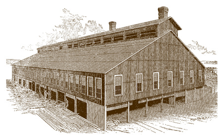 Exterior of a historic forge shop factory buildingÊ(after an engraving or etching from the 19th century)