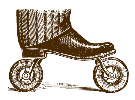 Historic roller skate with pneumatic tires clamped or strapped on the sole of a shoe�(after an etching or engraving from the 19th century)