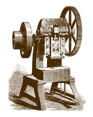 Historic cutting and forming press machineÊ(after an engraving or etching from the 19th century) Фото со стока - 126001537