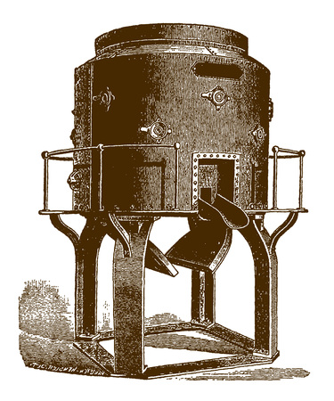 Historic cupola furnace for melting ironÊ(after an engraving or etching from the 19th century) Фото со стока - 126001538