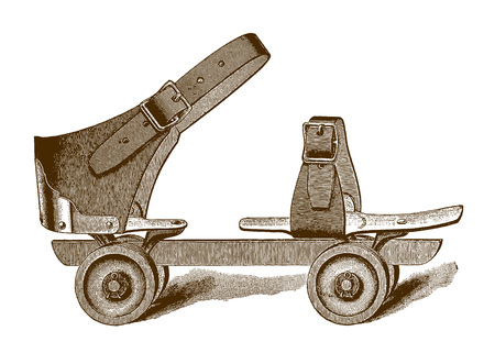 Historic sidewalk roller skate (after an engraving or etching from the 19th century) Illustration