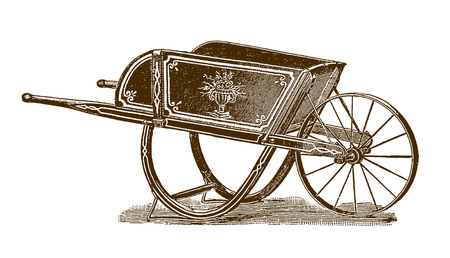 Historic wheelbarrow (after an engraving or etching from the 19th century)