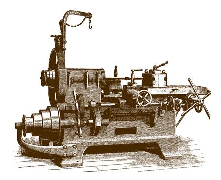 Torno de mandril de torreta históricoÊ (después de un grabado o grabado del siglo XIX) Ilustración de vector