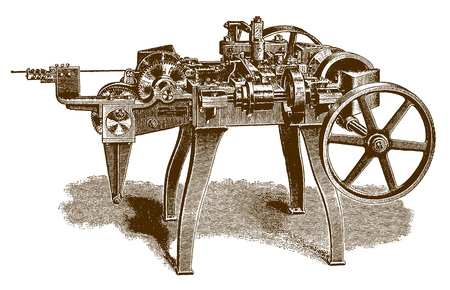 Historic automatic wire-forming machine (after an engraving or etching from the 19th century) Vectores
