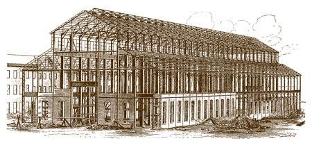 Construction of a historic machine shop of a factory building (after an engraving or etching from the 19th century)