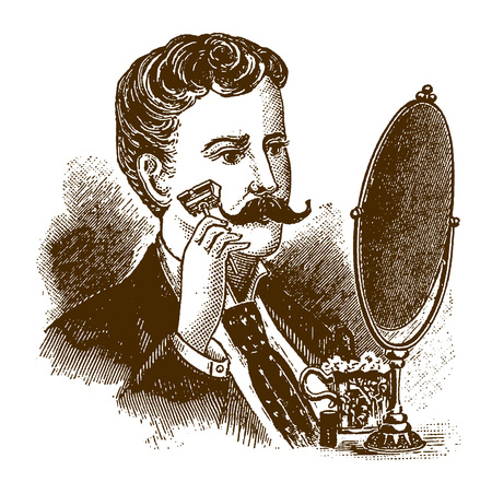 Historic man shaving his beard with a safety razor in front of a mirror (after an engraving or etching from the 19th century)