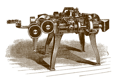 Historic four slide automatic band metal and wire forming machine (after an engraving or etching from the 19th century) 向量圖像
