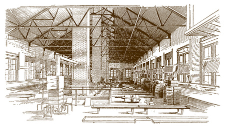 Interior view of a historic brass foundry buildingÊ(after an etching or engraving from the 19th century)