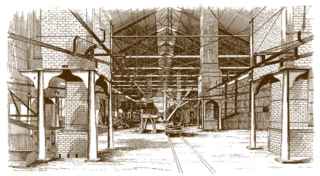 Interior view of a historic puddle mill buildingÊ(after an etching or engraving from the 19th century)