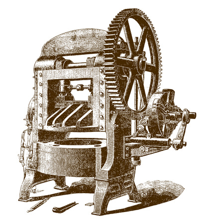 Historic worker hiding behind a pressing machineÊfor cutting and perforating dies (after an engraving or etching from the 19th century) Stock Illustratie