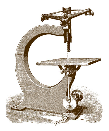 Historic scroll saw machine (after an engraving or etching from the 19th century)  イラスト・ベクター素材