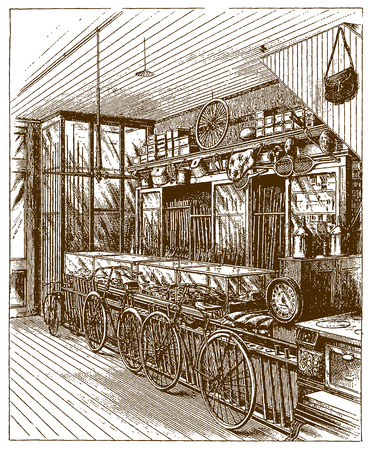 Historic shop for sporting and athletic goodsÊ(after an etching or engraving from the 19th century)