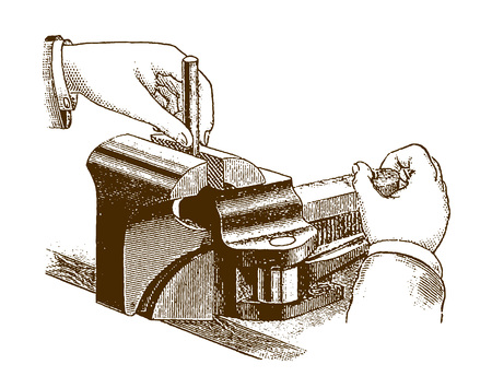 Historic illustration of two hands working on a vise (after an etching or engraving from the 19th century)